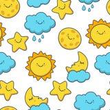 Grappige het schetsen ster, zon, wolk, maan Vector naadloos beeldverhaal Royalty-vrije Stock Afbeeldingen