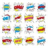 16 Grappige het van letters voorzien reeks in de toespraak borrelt grappig stijl vlak ontwerp stock illustratie