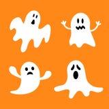 Grappige het vliegen spookreeks Verschillend emotiesgezicht Gelukkig Halloween De kaart van de groet Royalty-vrije Stock Afbeeldingen