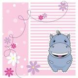 Grappige Hippo, groetkaart, vector Stock Fotografie
