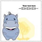 Grappige Hippo, groetkaart, vector Stock Foto's