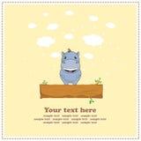 Grappige Hippo, groetkaart, vector stock illustratie