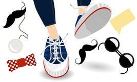 Grappige hipster, tennisschoenen en toebehoren stock illustratie