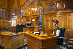 Grappige Hof Nar, Advocaat, Rechter, Wet royalty-vrije stock foto's