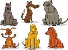 Grappige honden geplaatst beeldverhaalillustratie stock illustratie