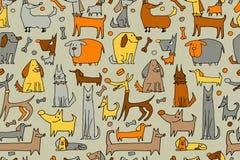 Grappige hondeninzameling, naadloos patroon voor uw ontwerp Stock Fotografie