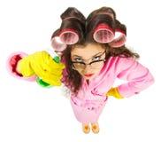Grappige huisvrouw met nerdglazen Stock Foto's