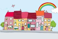Grappige huizen in gelukkige stad Stock Afbeeldingen