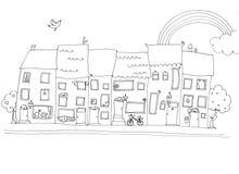 Grappige huizen in gelukkige stad b/w Royalty-vrije Illustratie