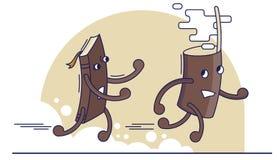Grappige illustratie met boek en koffiekop stock illustratie
