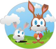 Grappige illustratie met Pasen konijntje stock fotografie