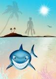 Grappige illustratie van haai stock illustratie