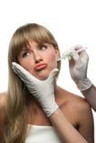 Grappige injecties Botox stock afbeelding