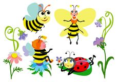 Grappige insecten Royalty-vrije Stock Afbeeldingen