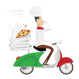 Grappige Italiaanse chef-kok die pizza op een bromfiets leveren Stock Foto's