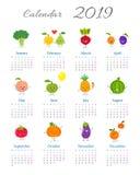Grappige jaarlijkse kalender 2019 royalty-vrije illustratie
