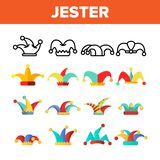 Grappige Jester Hat Linear Vector Icons-Reeks vector illustratie