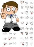 Grappige Jong geitje expresionreeks van het artsenbeeldverhaal Stock Foto's