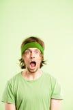 De grappige van de de mensen hoge definitie van het mensenportret echte groene achtergrond royalty-vrije stock afbeelding