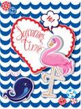 Grappige Kaart met roze flamingo Stock Afbeeldingen
