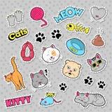 Grappige Kattenkentekens, Flarden en Stickers met Vissen, Koppelingen royalty-vrije illustratie