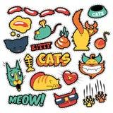 Grappige Kattenkentekens, Flarden, Stickers - Cat Fish Clutches in Grappige Stijl stock illustratie