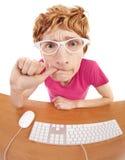 Grappige kerel bij de computer Stock Foto's