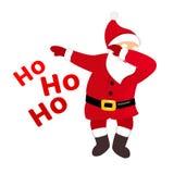 Grappige Kerstman die, origineel beeldverhaal grappig karakter, typografie ho ho ho tekst betten vector illustratie