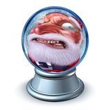 Grappige Kerstmis Santa Snow Globe Royalty-vrije Stock Afbeeldingen