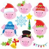 Grappige Kerstmis weinig vector het beeldverhaalillustratie van het varkensgezicht stock foto