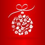 Grappige Kerstmisbal met pictogrammen Stock Foto
