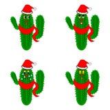 Grappige Kerstmiscactussen Stock Afbeeldingen