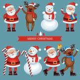 Grappige Kerstmiskarakters Stock Afbeelding