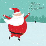 Grappige Kerstmisprentbriefkaar met het schaatsen van de Kerstman Stock Foto