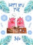 Grappige Kerstmisvarkens, Vrolijk Kerstmis en Nieuwjaar 2019 van Groetkaarten Varken Santa Claus, Kerstkaarten stock fotografie