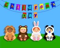 Grappige kinderen in dierlijke kostuums De Dag van internationale Kinderen Stock Foto's