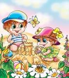 Grappige kinderen in het zand royalty-vrije illustratie