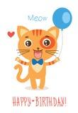 Grappige Kitty With Balloon Leuke Beeldverhaal Dierlijke Vector op Witte Achtergrond Grappige Cat Greetings Card Stock Fotografie