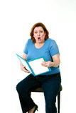 Grappige klaar vrouw een boek Stock Afbeeldingen