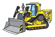 Grappige kleine bulldozer met ogen stock illustratie