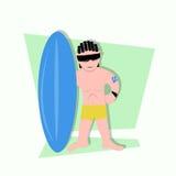 Grappige kleine jonge geitjes die surfer klaar te surfen zijn Stock Foto