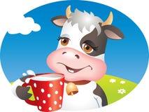 Grappige koe het drinken melk Stock Afbeeldingen