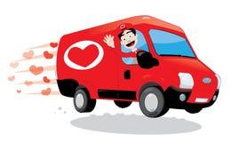 Grappige koerier die een vrachtwagen van liefde leveren Heilige Valentine en liefdeconcept Royalty-vrije Stock Foto's