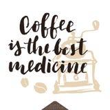 Grappige koffie van letters voorziende affiche Stock Foto