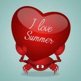 Grappige krab met hart Royalty-vrije Stock Afbeeldingen