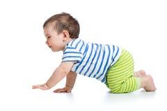 Grappige kruipende babyjongen Royalty-vrije Stock Afbeeldingen