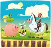 Grappige landbouwer met dieren Royalty-vrije Stock Afbeeldingen