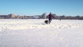 Grappige langzame motie van Schor hond en jonge hipstervrouw die hoge sneeuw naar camera doornemen stock footage