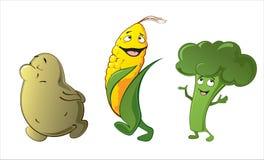Grappige leuke groenten - aardappel, graan, broccoli Stock Illustratie