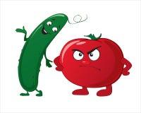 Grappige leuke groenten - komkommer, tomaat Stock Foto